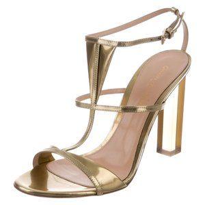 New GIANVITO ROSSI Peggy Metallic Sandals, 42